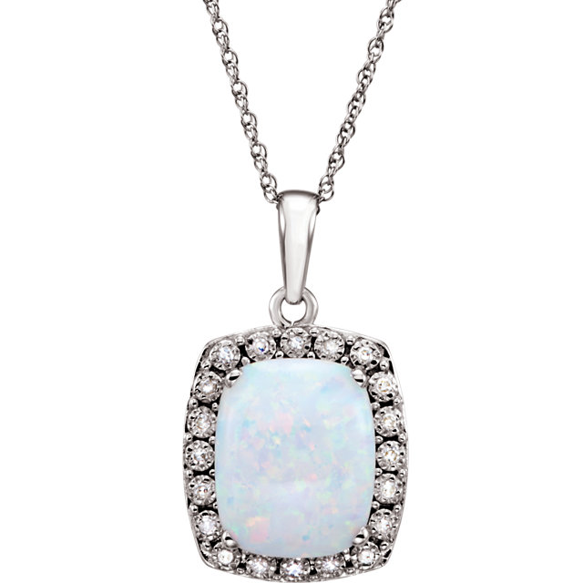 14K White Created Opal & .05 CTW Diamond 18