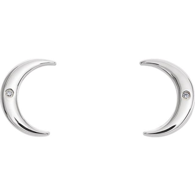 Sterling Silver .005 CTW Diamond Crescent Earrings