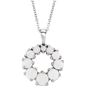 Sterling Silver Opal Halo-Style Necklace