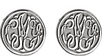 14K White 10 mm 3-Letter Script Monogram Earrings
