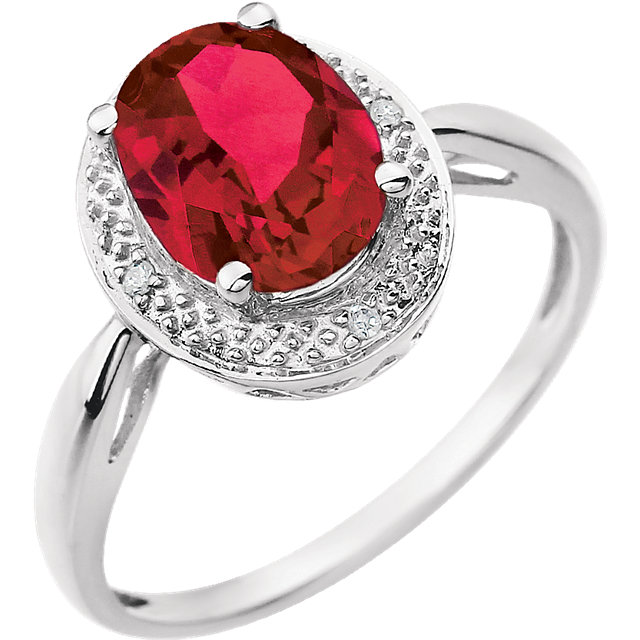 14K White Created Ruby & .02 CTW Diamond Ring