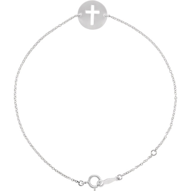 14K White Pierced Cross 7-8