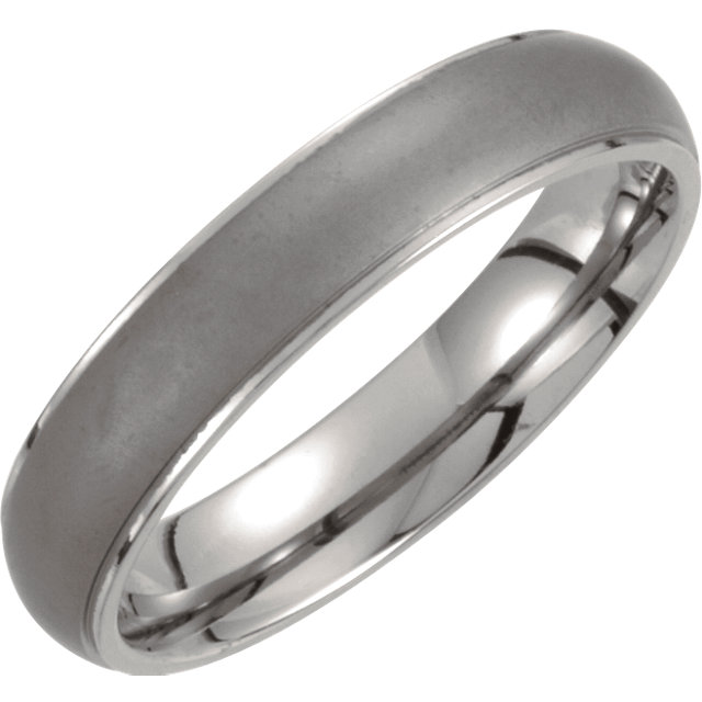Titanium 5mm Oxidized Center Ridged Band Size 7