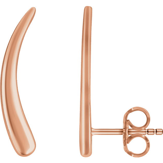 14K Rose Curved Ear Climbers