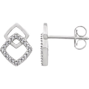 14K White 1/10 CTW Diamond Geometric Earrings