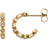 Granulated J-Hoop Earrings