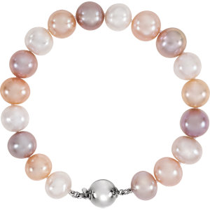 Sterling Silver Freshwater Cultured Pearl  Multicolor 7.75
