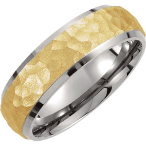 Titanium & Gold Immerse Plated 7mm Hammered Finish Beveled Edge Band Size 6.5