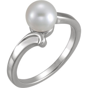 14K White 7mm Solitaire Ring for Pearl