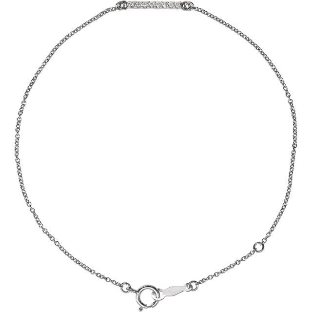 14K White .07 CTW Diamond Bar Bracelet