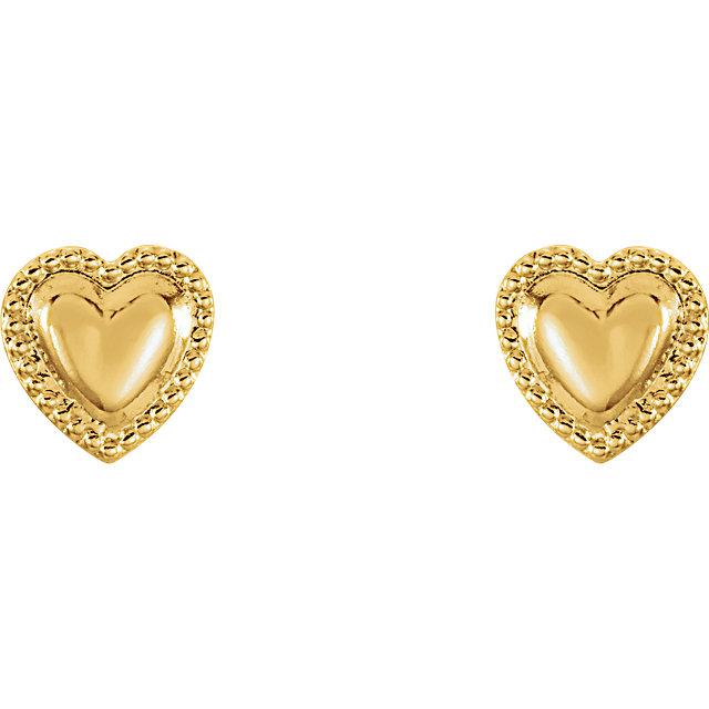 14K Yellow Youth Heart Earrings