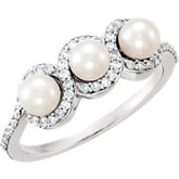 Three-Stone Halo-Style Pearl Ring