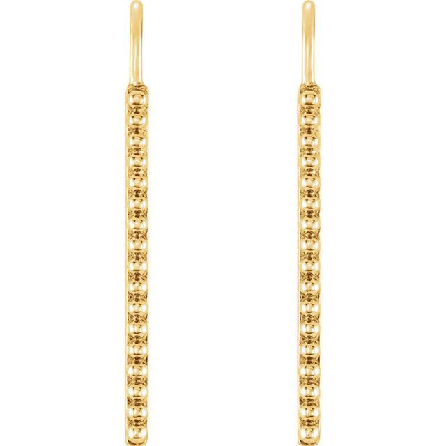 14K Yellow Beaded Earrings