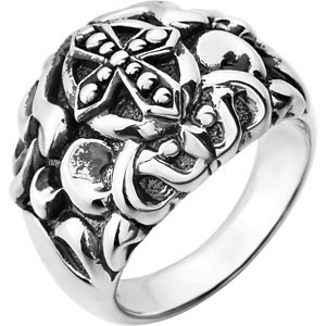 Sterling Silver Men-s Cross Fashion Ring