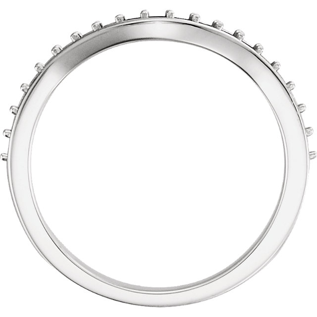 14K White 1/4 CTW Diamond Curved Band