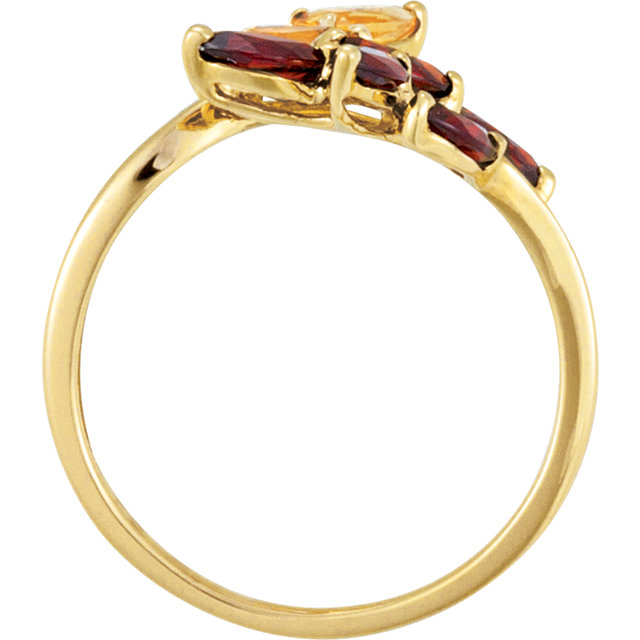 14K Yellow Citrine & Mozambique Garnet Bypass Ring Size 8