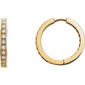 14K Yellow 1 CTW Diamond Hoop Inside/Outside Earrings