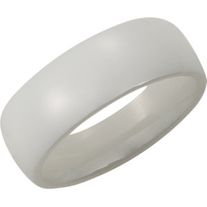 White Ceramic 8mm Domed Band Size 7
