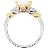 Opal, Tanzanite & Diamond Accented Two-Tone Granulated Design Ring
