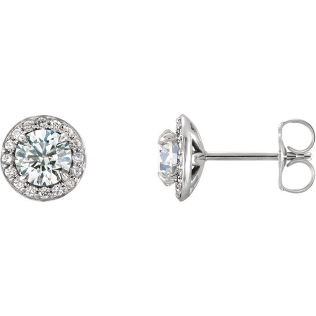 14K White Round White Sapphire & 1/8 CTW Diamond Earrings