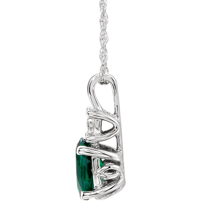 14K White Created Emerald & .02 CTW Diamond 18