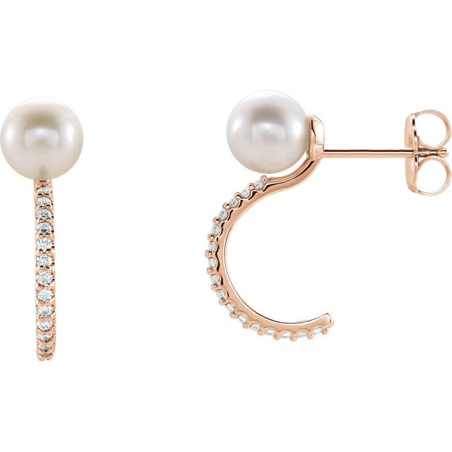 14K Rose Freshwater Cultured Pearl & 1/6 CTW Diamond J-Hoop Earrings