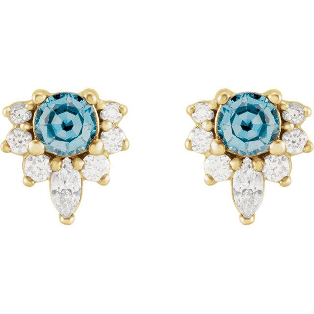 14K Yellow Aquamarine & 1/6 CTW Diamond Earrings