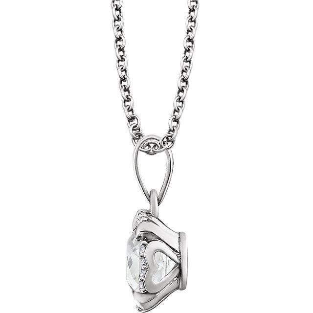 14K White Created White Sapphire & .05 CTW Diamond 18