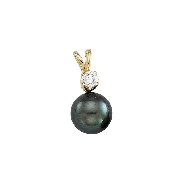 14K Yellow Black Akoya Cultured Pearl & Diamond Pendant