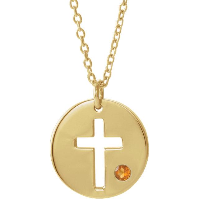 14K Yellow Citrine Pierced Cross Disc 16-18