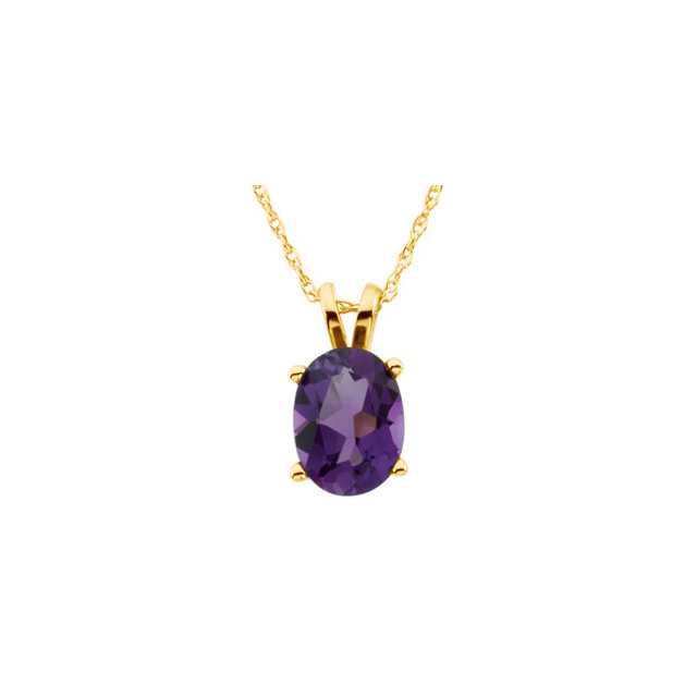 14K Yellow 8x6 mm Oval Amethyst Solitaire 18