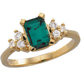 Chatham® Created Emerald & Diamond Accented Ring