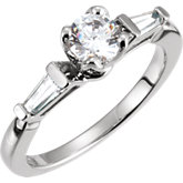 Baguette Accented Tulipset® Engagement Ring