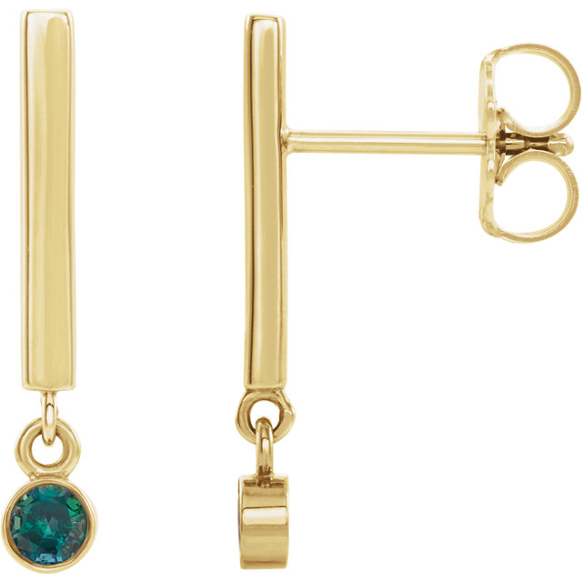 14K Yellow Alexandrite Dangle Earrings