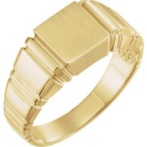 Fashion Rings , 18K Yellow 9mm Men's Square Signet Ring