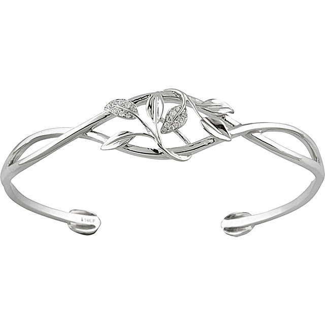 14K White .05 CTW Diamond Leaf Design Cuff Bracelet