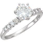 Charles & Colvard Moissanite® Accented Engagement Ring or Band