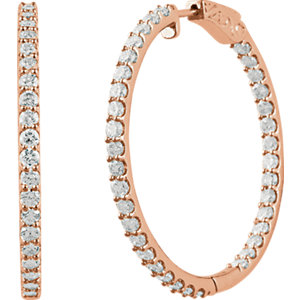 14K Rose 5 CTW Diamond Inside/Outside Hoop Earrings