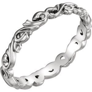 14K White 3mm Sculptural-Inspired Scroll Design Band Size 6