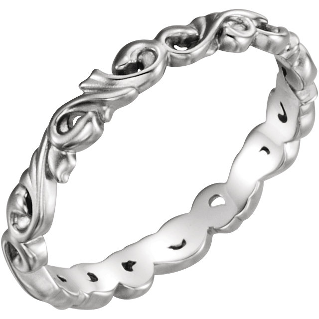 14K White 3mm Sculptural-Inspired Scroll Design Band Size 7