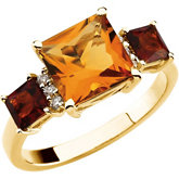 Citrine & Diamond Accented 3-Stone Ring