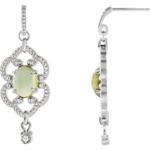 Earrings , 14K White Peridot & .03 CTW Diamond Earrings