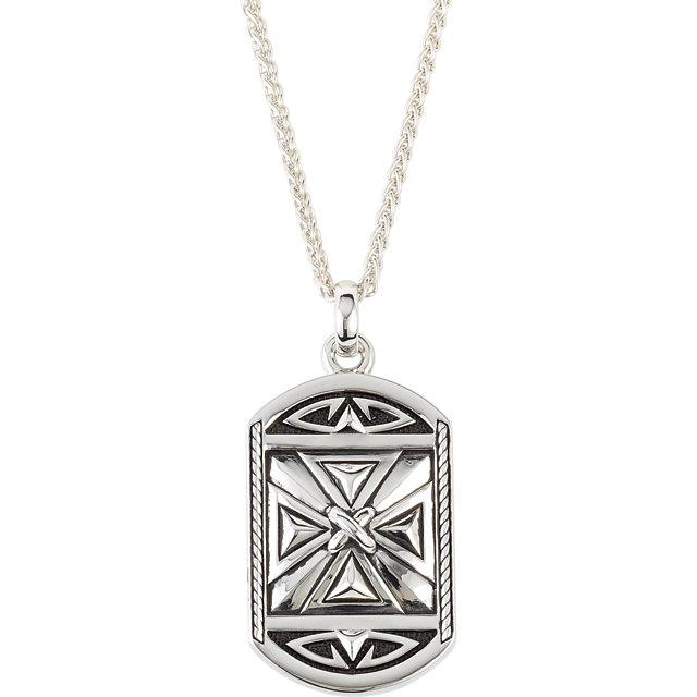 Enameled  Reversible Cross Necklace