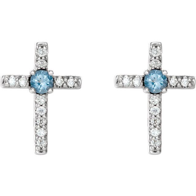 14K White Aquamarine & .06 CTW Diamond Cross Earrings