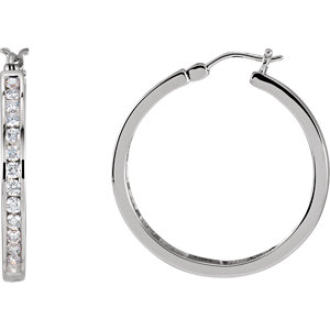 14K White 1 CTW Diamond Hoop Earrings
