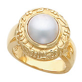 Floral-Inspired & Vine Ring Mounting for Mabe Pearl