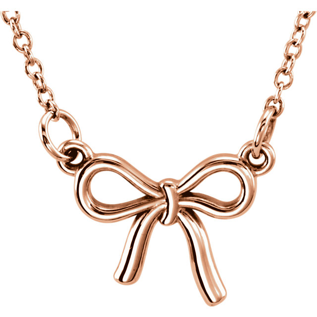 14K Rose Tiny Posh® Knotted Bow 16-18