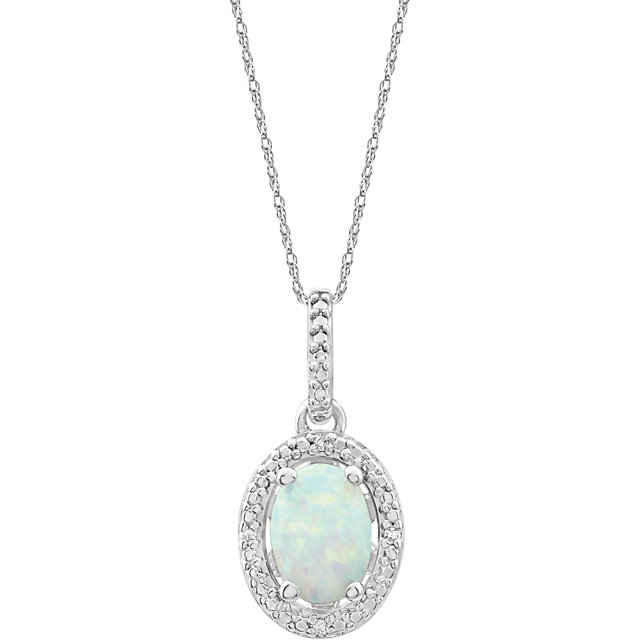Sterling Silver Lab-Grown Opal & .01 CTW Diamond 18