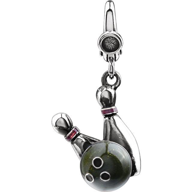 Enamel Bowling Ball & Pins Charm