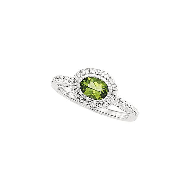 Peridot & Diamond Halo-Style Ring